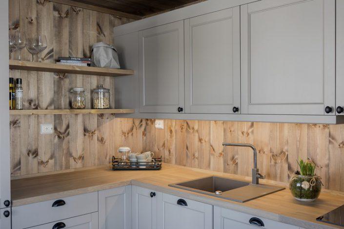 White painted cabin kitchen LHM2. LHM Interior