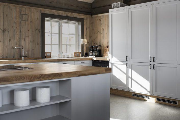 Hvit kjøkkenmøbler. Hytteinspirasjon. LHM Interior